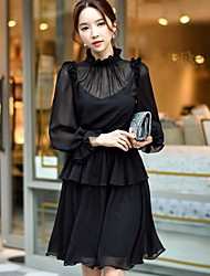 DABUWAWA Women's Party Holiday Going out Casual/Daily Work Sexy Vintage Simple A Line Swing DressSolid Stand Above Knee Long Sleeves Polyester