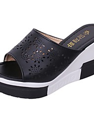 cheap -Women's Slippers & Flip-Flops Light Soles Spring Fall PU Casual Flower Wedge Heel Black White 2in-2 3/4in