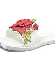 Women's Slippers & Flip-Flops Comfort Summer PU Walking Shoes Casual Flower Flat Heel White Yellow Blushing Pink 2in-2 3/4in