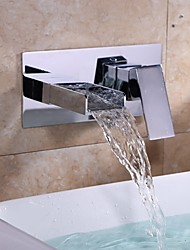 Moderno LED A 3 fori Cascata with  Valvola in ceramica Una manopola Due fori for  Cromo , Lavandino rubinetto del bagno