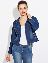 cheap -Women's Cute Denim Jacket-Solid Colored