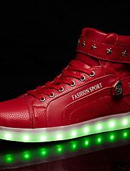 Недорогие -Жен. Обувь Полиуретан Весна Осень Удобная обувь Кеды На плоской подошве Круглый носок Шнуровка LED для Повседневные Белый Черный Красный