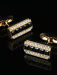 2017 New Luxury Shirt Cufflinks for Man Wedding Gift Brand Cuff Buttons Black Crystal French Cufflink Gold Abotoadura Jewelry