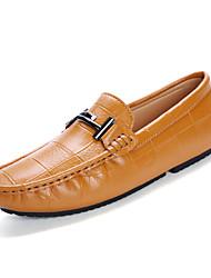 cheap -Men's Cowhide Summer / Fall Comfort Loafers & Slip-Ons Walking Shoes Black / Dark Blue / Brown