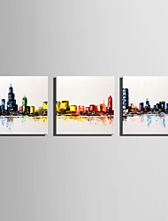 Mini Size E-HOME Oil painting Modern Abstract Color City Pure Hand Draw Frameless Decorative Painting Set of 3