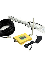 Intelligent Display Mobile Phone 3G 2100mhz Signal Booster UMTS W-CDMA Signal Repeater with Omni Antenna / Yagi Antenna Yellow