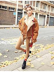 preiswerte -Damen Solide Einfach Lässig/Alltäglich Jacke,Gekerbtes Revers Herbst Winter Lange Ärmel Kurz Polyester