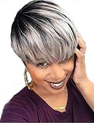 Недорогие -Человеческие волосы без парики Натуральные волосы Прямой Машинное плетение Парик