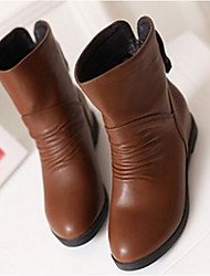 Women's Shoes PU Fall Winter Fashion Boots Boots For Casual White Black Brown