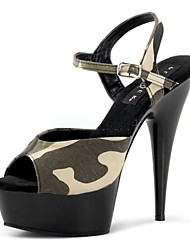 cheap -Women's Shoes Twill Summer Formal Shoes Sandals Stiletto Heel Peep Toe Buckle for Dress Party & Evening Black