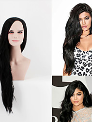 Deluxe  Kardashian Long Black Heat Resistant Celebrity Fashion Wig