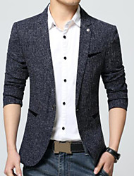 Men's Work Simple Spring Blazer,Solid Peaked Lapel Long Sleeve Long Polyester