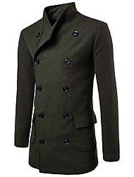 cheap -Men's Long Cotton Trench Coat - Solid Colored Shirt Collar