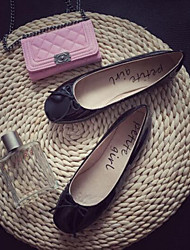 Damen Flache Schuhe Komfort Echtes Leder PU Frühling Normal Schwarz Leopard Burgund Flach