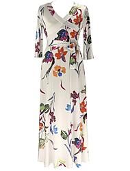 preiswerte -Damen Übergrössen Hülle Kleid Blumen Maxi V-Ausschnitt