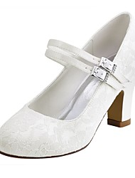 Women's Wedding Shoes Basic Pump Stretch Satin Spring Fall Wedding Party & Evening Crystal Chunky Heel Ivory White 2in-2 3/4in