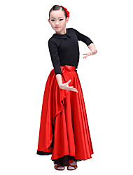 cheap -Latin Dance Bottoms Performance Senior Emulation Silk Satin Chiffon Dropped Skirts