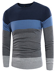 cheap -Men's Daily Going out Casual Regular Pullover,Color Block Round Neck Long Sleeves Wool Spring Fall Medium Stretchy