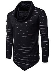 Herren Solide Einfach Street Schick Ausgehen Lässig/Alltäglich T-shirt,Kapuze Frühling Herbst Langarm Baumwolle Acryl Mittel