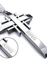 Individual men Cross Stainless Steel Pendant Necklace titanium Korean high polished jewelry