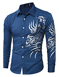 New Arrival 10 Colors M-2XL Men's Plus Size Casual/Daily Simple Active Summer ShirtPrint Standing Collar Long Sleeve Cotton Polyester Thin