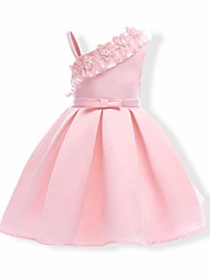 cheap -Girl's Solid Dress,Cotton Polyester Summer Sleeveless Floral Blushing Pink
