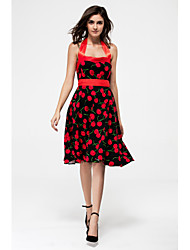 cheap -Women's Lace up Print Black Swing Dress,Vintage/Print Halter Sleeveless