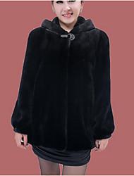 Cappotto di pelliccia Da donna Casual Romantico Inverno,Tinta unita Con cappuccio Pelliccia di volpe Lungo Manica lunga