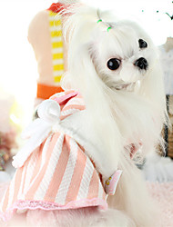 cheap -Dog Dress Dog Clothes Warm Casual/Daily Stripe Yellow Blue Pink Costume For Pets