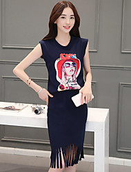 Women's Casual/Daily Simple Summer T-shirt Skirt Suits,Sexy Lady Round Neck Sleeveless