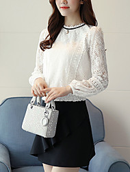 Women's Going out Casual/Daily Simple Boho Blouse,Solid Round Neck Long Sleeves Silk Cotton