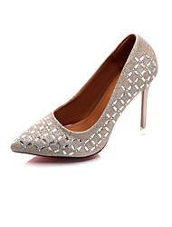 Women's Heels Formal Shoes Fall PU Walking Shoes Casual Dress Office & Career Rhinestone Stiletto Heel Gold Black Silver 3in-3 3/4in