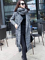 cheap -Women's Long Sleeve Cotton Loose Long Cardigan - Solid Colored / Geometric Shirt Collar / Fall / Winter