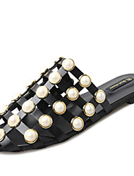 Women's Shoes PU Spring Summer Gladiator Sandals Flat Heel Round Toe Imitation Pearl Flower For Casual Dress White Black