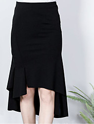 Damen Ausgehen Asymmetrisch Röcke Trompete/Meerjungfrau einfarbig Sommer
