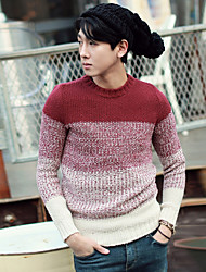Men's Going out Casual/Daily Short Pullover,Color Block Round Neck Long Sleeves Polyester Spandex Others Spring Fall Thin Micro-elastic