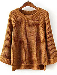 cheap -Women's Daily Casual Regular Pullover,Solid Round Neck Long Sleeves Cotton Winter Fall Medium Micro-elastic