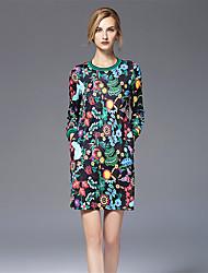 FRMZ Women's Casual/Daily Sheath Swing DressPrint Round Neck Maxi Sleeveless Polyester Summer Mid Rise Micro-elastic Medium