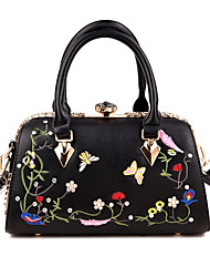 cheap -Women Bags PU Tote Embroidery for Casual Office & Career All Seasons White Black Blushing Pink