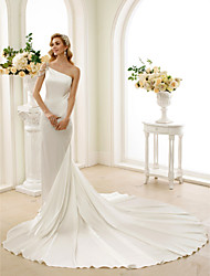 cheap -Mermaid / Trumpet One Shoulder Cathedral Train Stretch Satin Custom Wedding Dresses with Crystal Beading by LAN TING BRIDE®