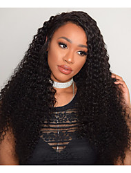cheap -Remy Human Hair Full Lace Wig Curly 180% Density 100% Hand Tied African American Wig Natural Hairline Medium Long Women's Human Hair Lace
