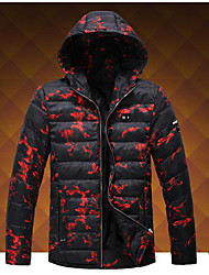 Men's Short Padded Coat,Simple Going out Work Solid Print-Polyester Polypropylene Cotton Long Sleeves