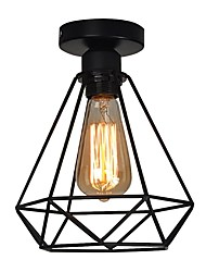 Vintage 1-Lights Black Metal Cage Loft Ceiling Lamp Flush Mount Dining Room Kitchen Light Fixture