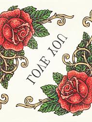 1pc de halloween couleur de pâte de tatouage tatouage autocollants version plus large fleurs imperméables