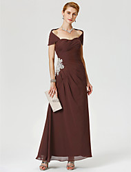 A-Line Strapless Ankle Length Chiffon Mother of the Bride Dress with Applique Beading Side-Draped by LAN TING BRIDE®