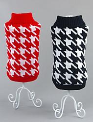 お買い得  -ネコ 犬 セーター 犬用ウェア 幾何学的な ブラック レッド コットン コスチューム ペット用 男性用 女性用 カジュアル/普段着 新年