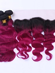 cheap -Brazilian Hair Body Wave Ombre Hair Weaves 3 Bundles With  Closure 12-20 inch Human Hair Weaves 4x13 Closure 8a Black / Dark Wine Human Hair Extensions