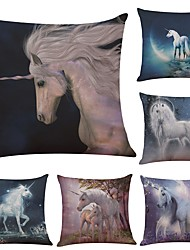 cheap -Set of 6  Unicorn Linen Cushion Cover Home Office Sofa Square Pillow Case Decorative Cushion Covers Pillowcases (18*18Inch)