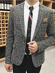 Men's Work Simple Fall Blazer,Print Peaked Lapel Long Sleeve Regular Polyester