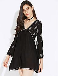 cheap -Women's Going out Boho Flare Sleeve A Line Dress Embroidery High Rise Mini Deep V